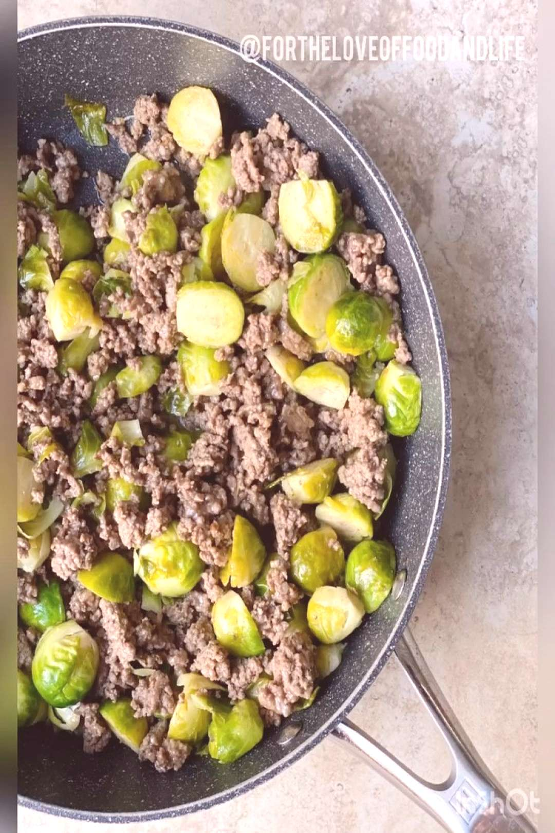 RECIPE Sweet Chili Brussels sprouts and ground beef bowl . Great