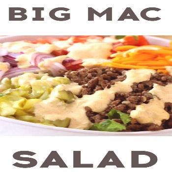 Cheeseburger salad loaded with ground beef, lettuce, tomato, onio