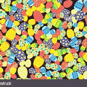 Colorful Easter eggs randomly placed on black background. Christi