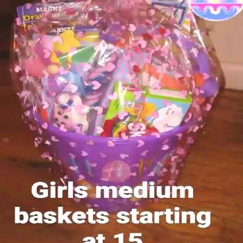 Easter baskets starting at 10 for small and 15 for medium sized.