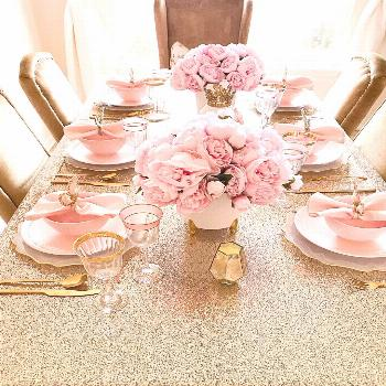 Elegant pink and gold Easter table escape