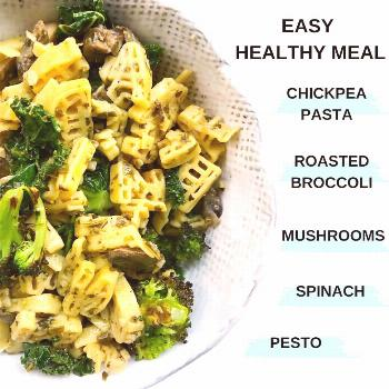 food possible text that says EASY HEALTHY MEAL CHICKPEA PASTA ROA