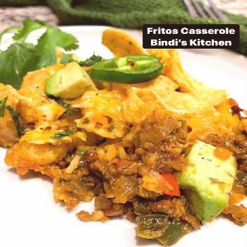 food possible text that says Fritos Casserole Bindis Kitchen