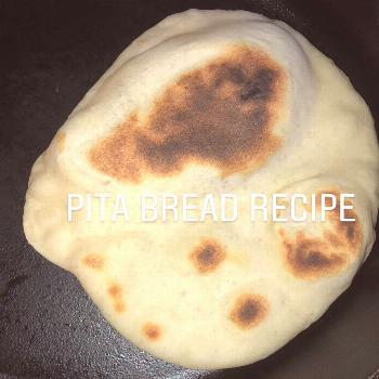food possible text that says PITA BREAD RECIPE