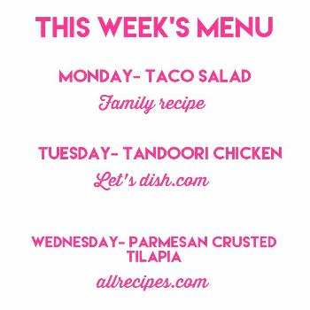 Forgot to share this! A bit late but here is this week's menu. Fi