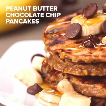 Healthy Peanut Butter Chocolate Chip Pancakes Full recipe below,