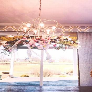 how to decorate your chandelier for spring and Easter .. enjoy wa