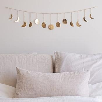 Moon Phase Wall Hanging Handmade Hammered Gold Metal 13