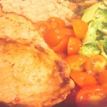 One pan pork loin, cous cous, broccoli, mushroom and tomato recip