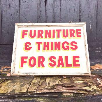 outdoor possible text that says FURNITURE E THINGS FOR SALE