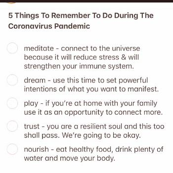 possible text that says 5 Things To Remember To Do During The Cor
