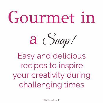 possible text that says Gourmet in a Snap Easy and delicious reci