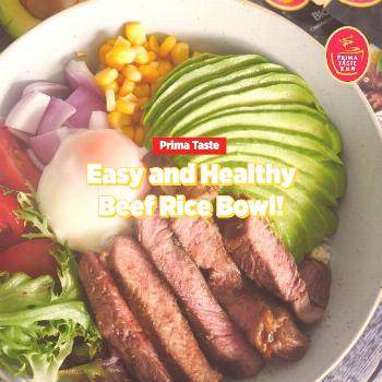Prepare your own grain bowl at home with juicy pan-fried beef mar