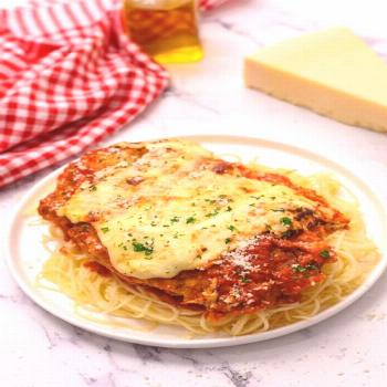 The Best Baked Chicken Parmesan has a crispy coating made with It