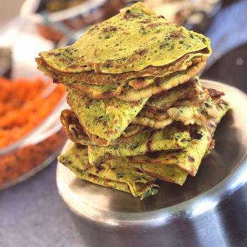 These delicious Gujarati chickpea pancakes go down a treat either