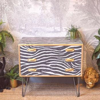 This upcycled G Plan chest of drawers in gorgeous zebra stripes b