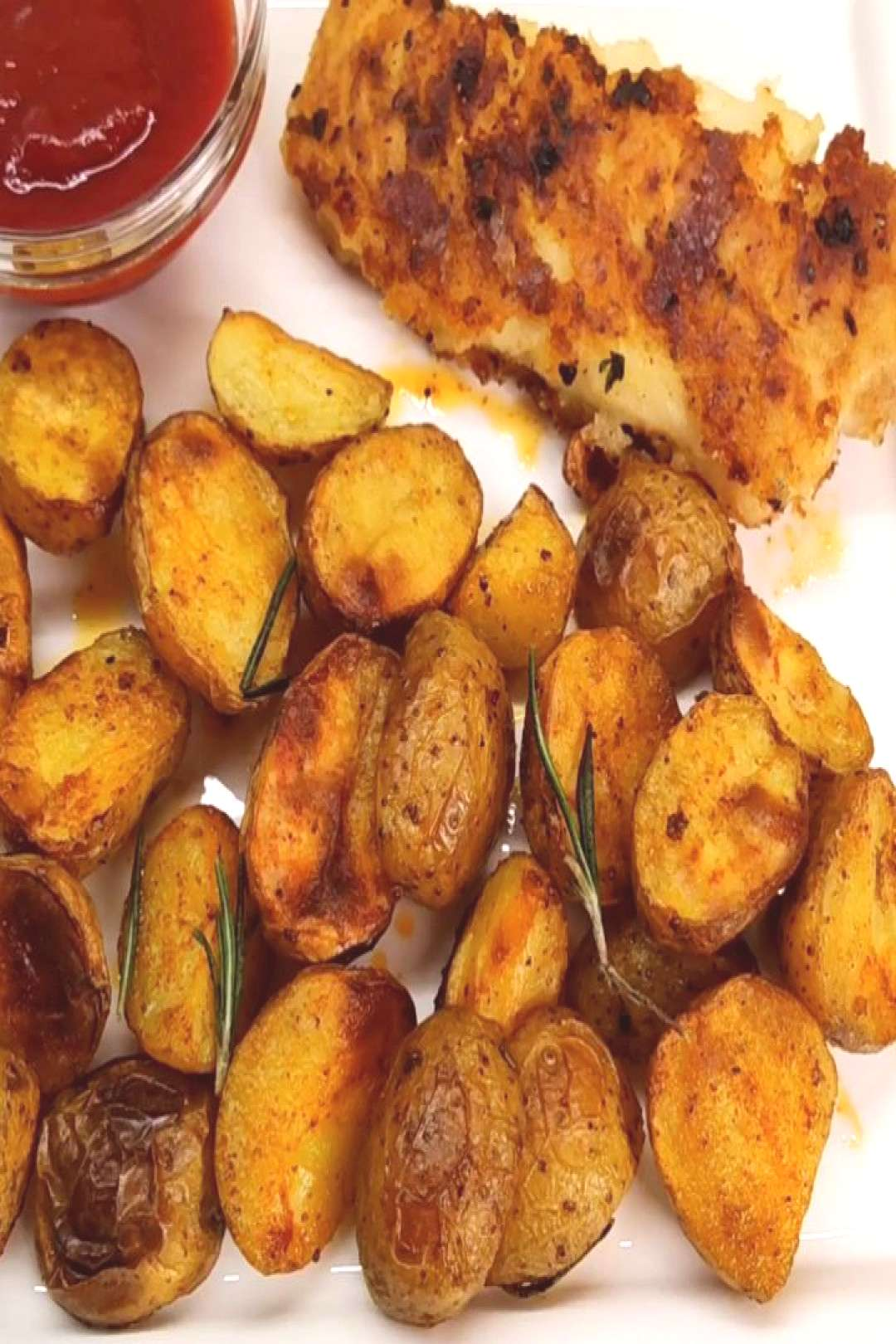 Baked potatoes with italian herbs and fried fish Wonderful evenin