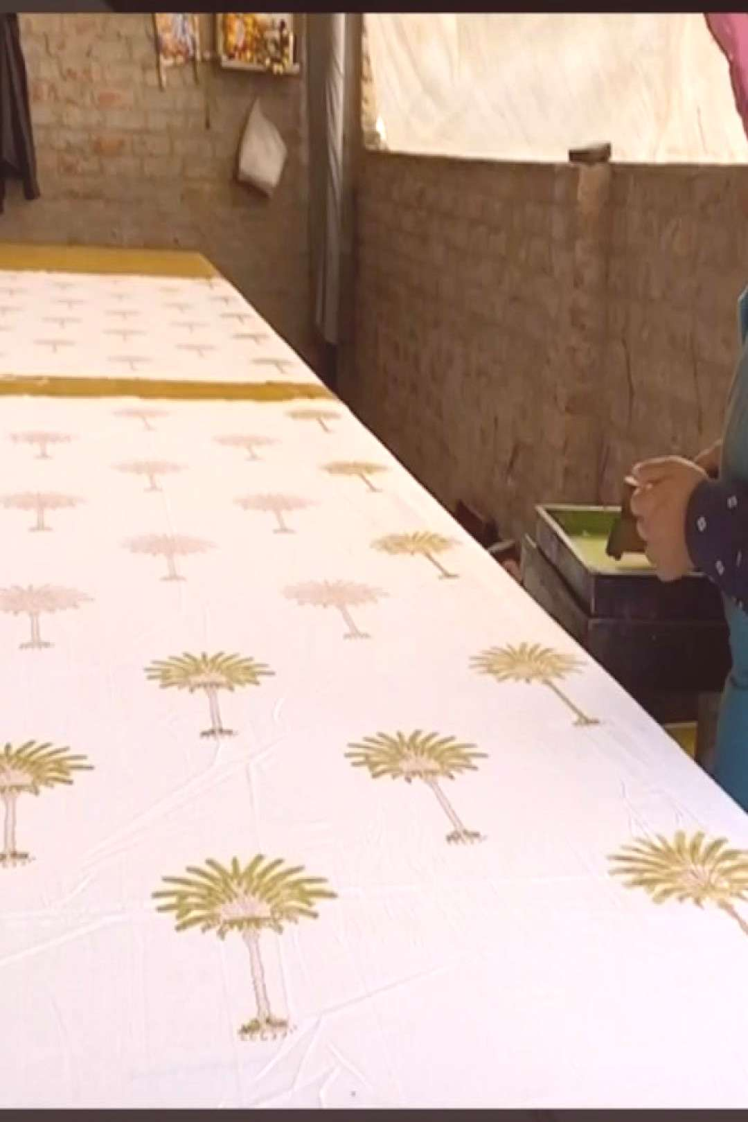 Behind the scenes - Hand printing of Polka Dot Palm Tree collecti