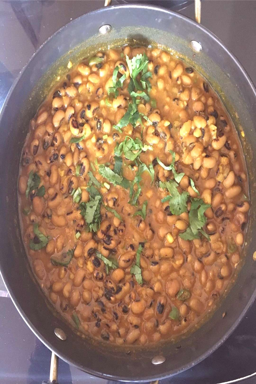 Black eyed beans with garlic and green chilli. One of my favourit
