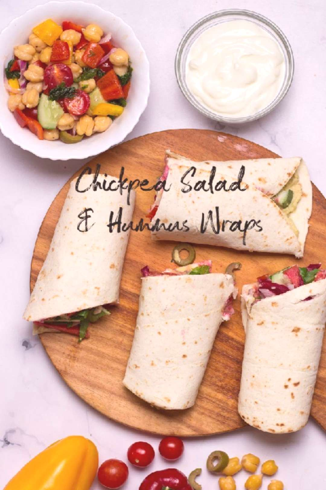 Chickpea Salad and Hummus Wraps with Greek Yogurt For all you lov