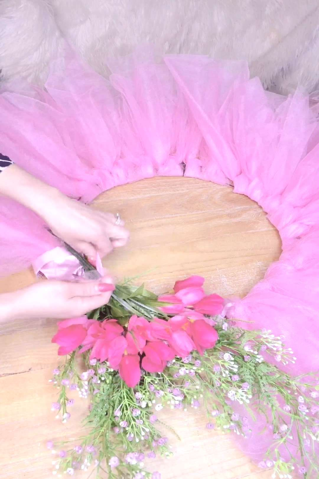 Easter spring wreath ! Sorry neighbors ! Lol bright tulle spring