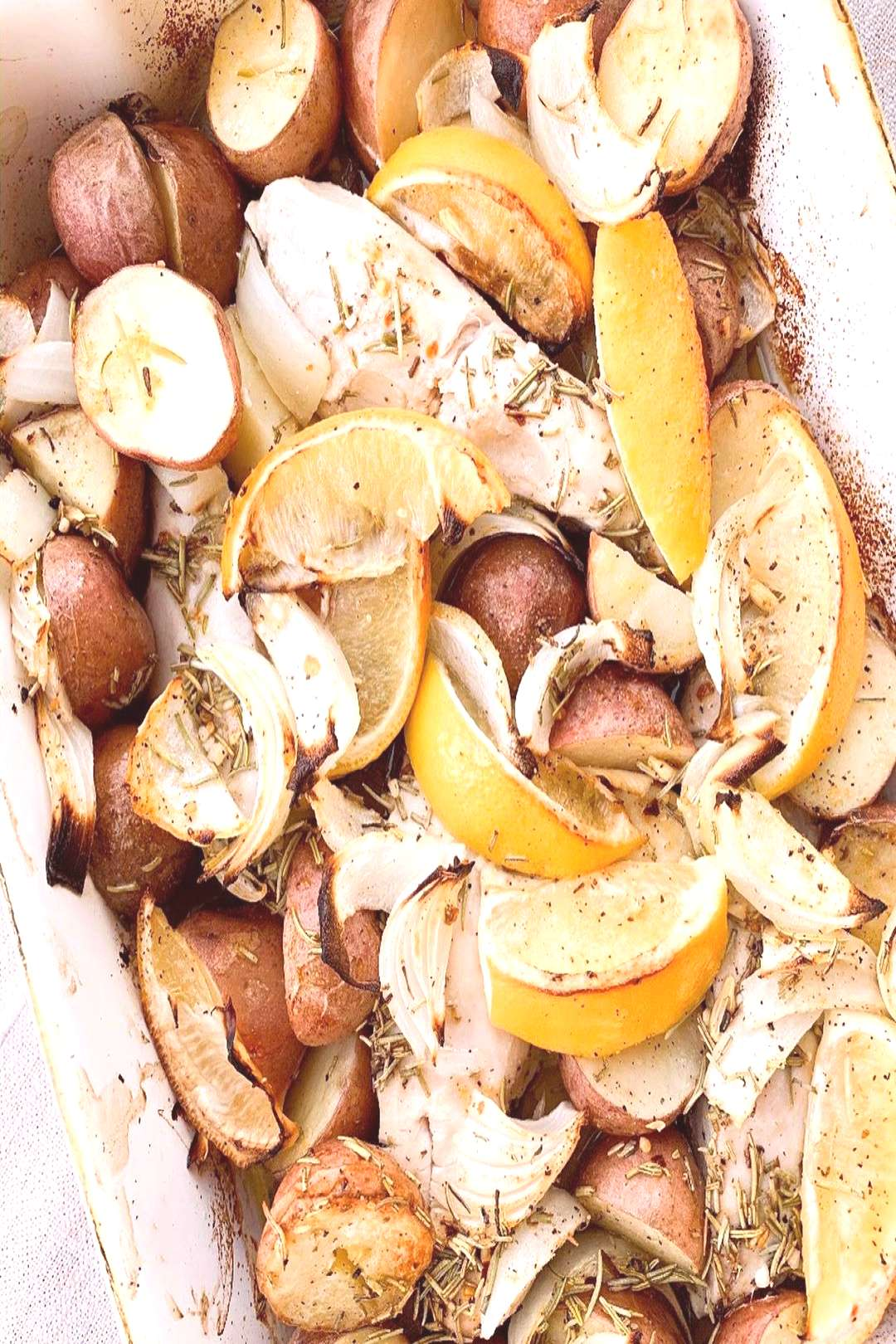 Easy one pan Roasted Lemon Chicken with Potatoes and Rosemary! Wh
