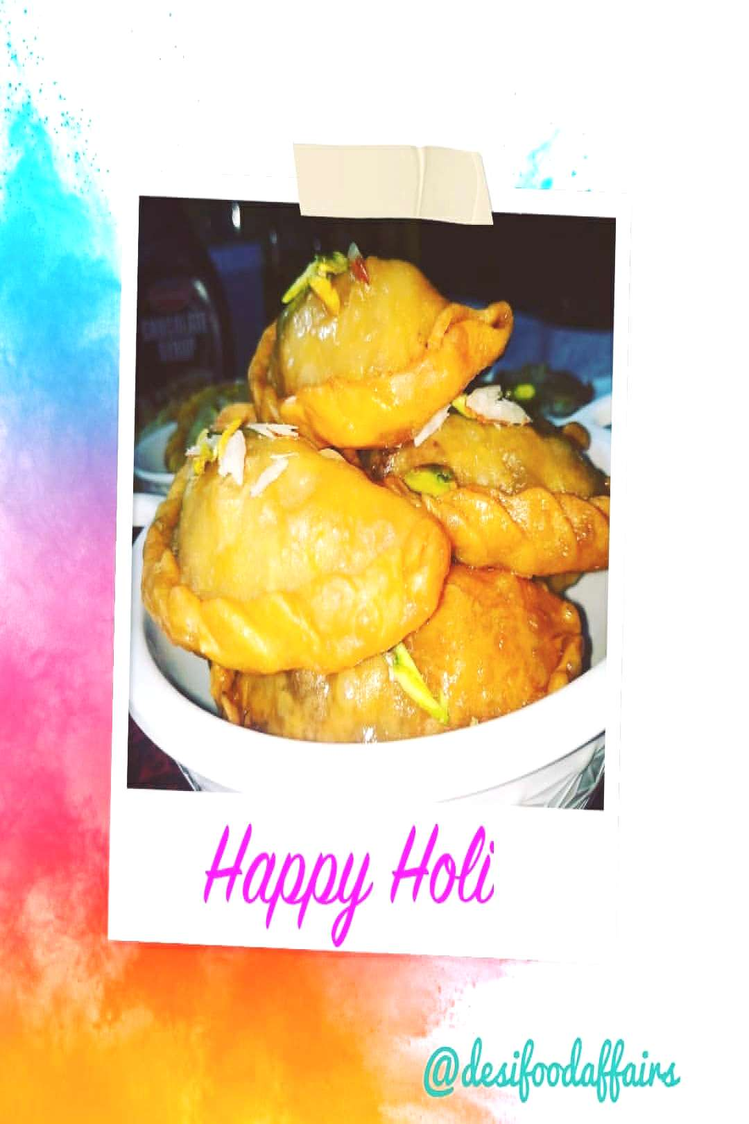 food, possible text that says 'Happy Holi '