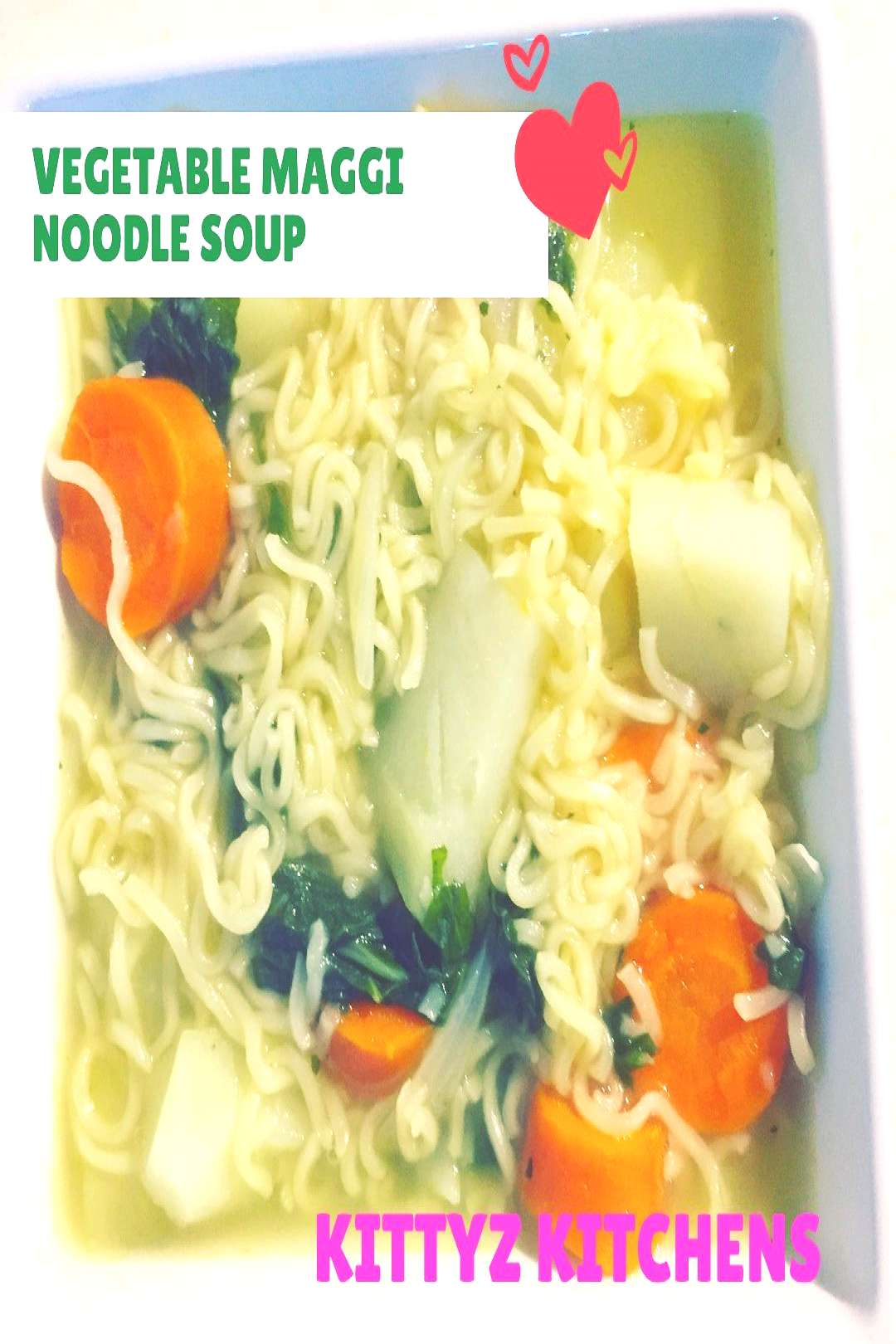 food possible text that says VEGETABLE MAGGI NOODLE SOUP KITTYZ K