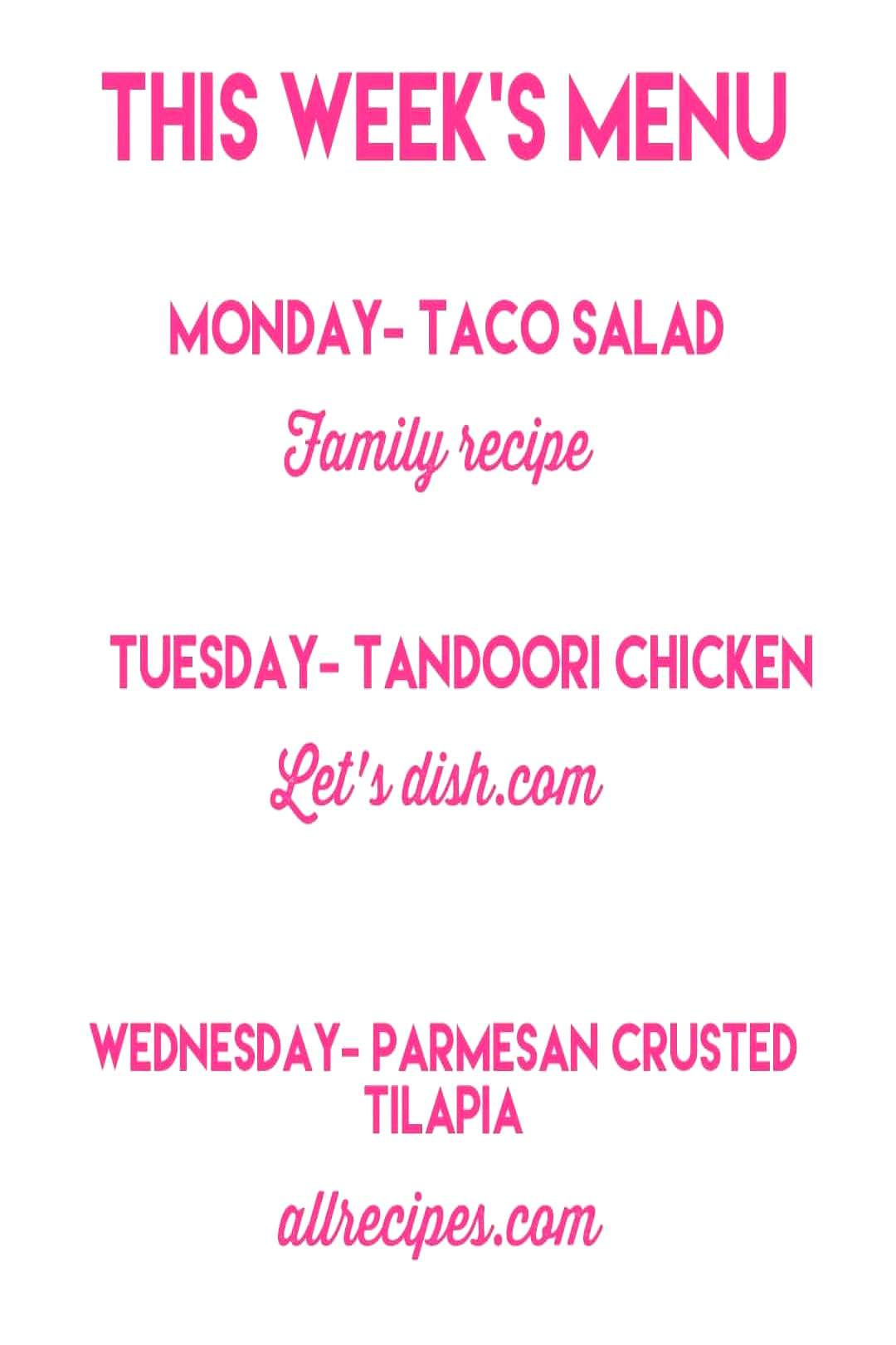 Forgot to share this! A bit late but here is this weeks menu. Fi