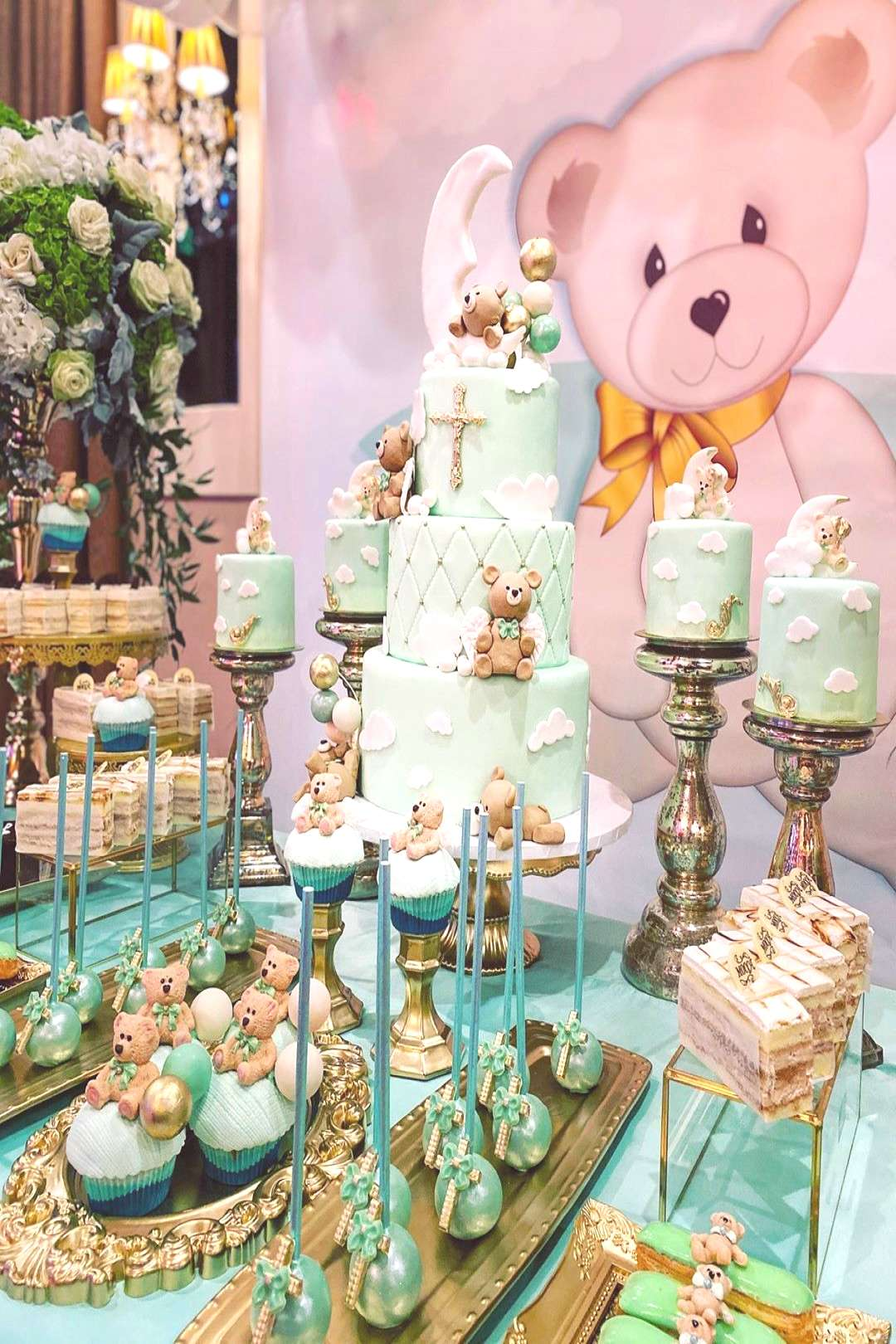 Gorgeous custom desserts/cake/set up/design for an amazing baptis