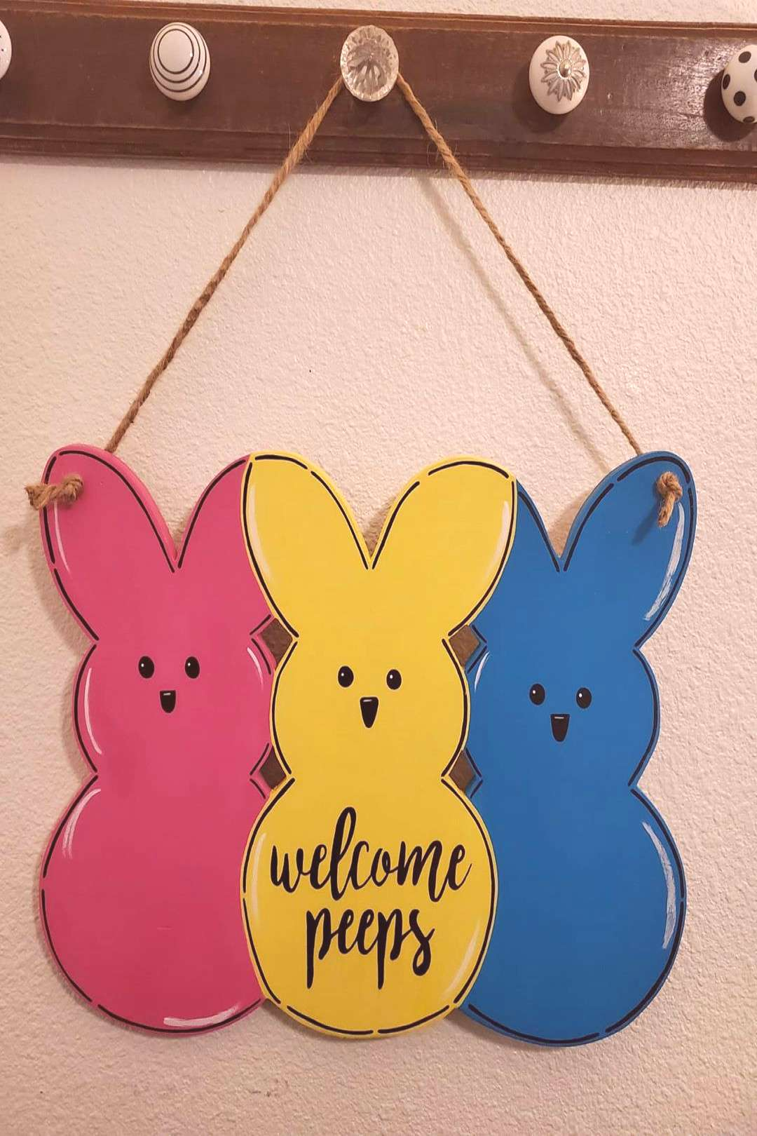 How cute is this quotwelcome peepsquot front door sign for easter?! It
