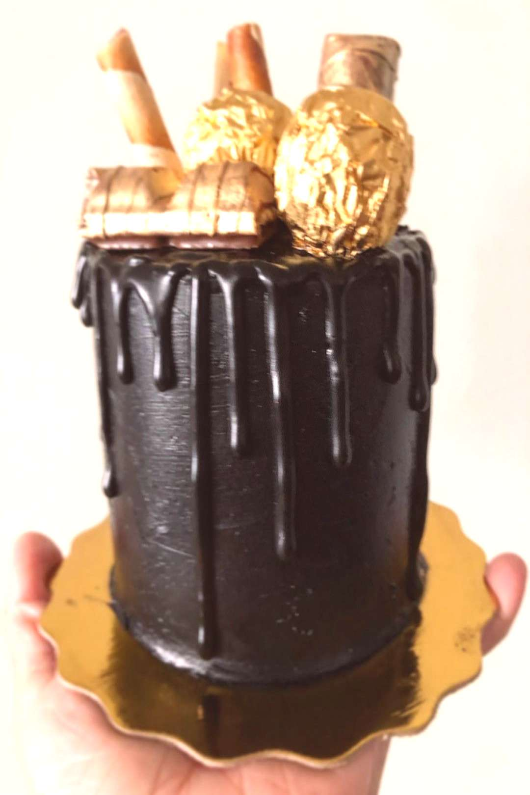 Mini 4in black and gold Birthday Cake. A special Order! Chocolate