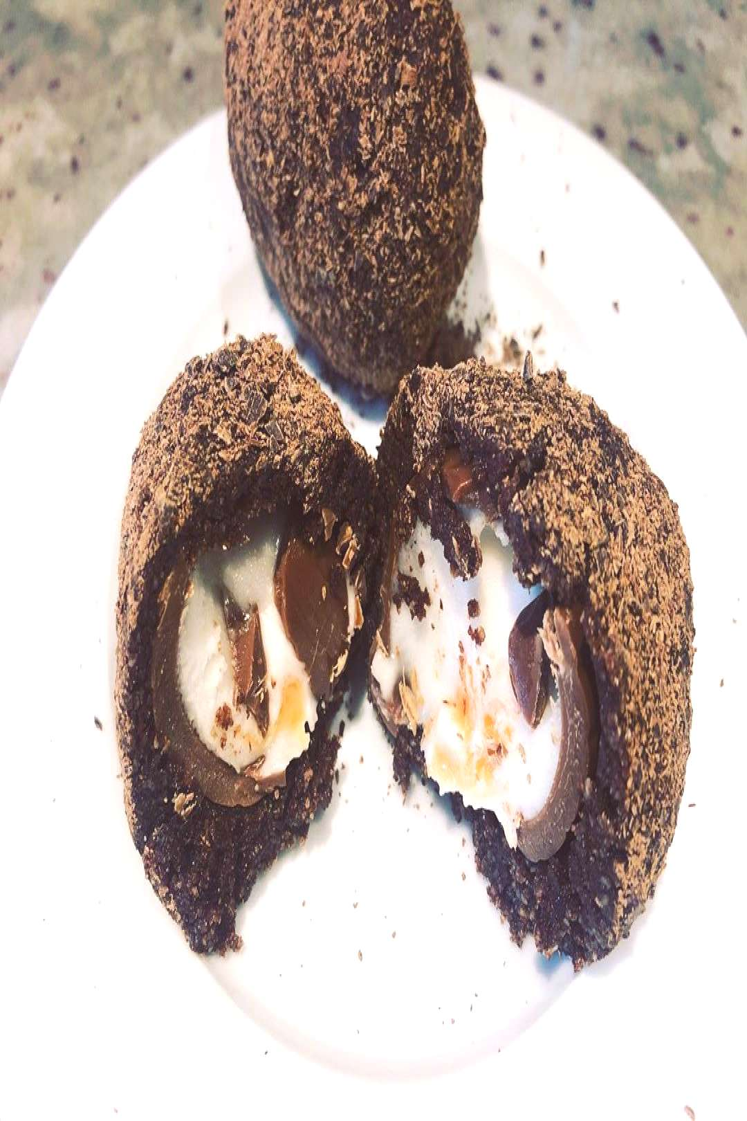 New for Easter...creme egg scotch eggs. Creme egg cover with truf