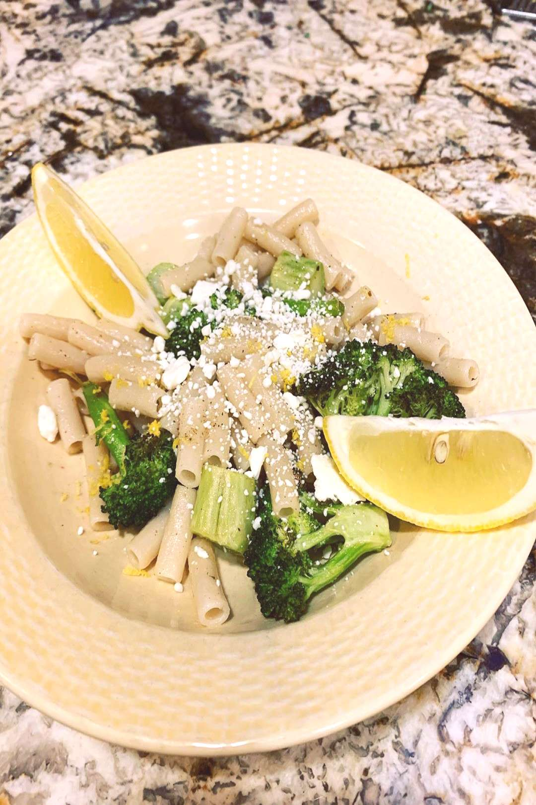 Roasted Broccoli Pasta with Lemon and Feta. . . Dinner cooked by