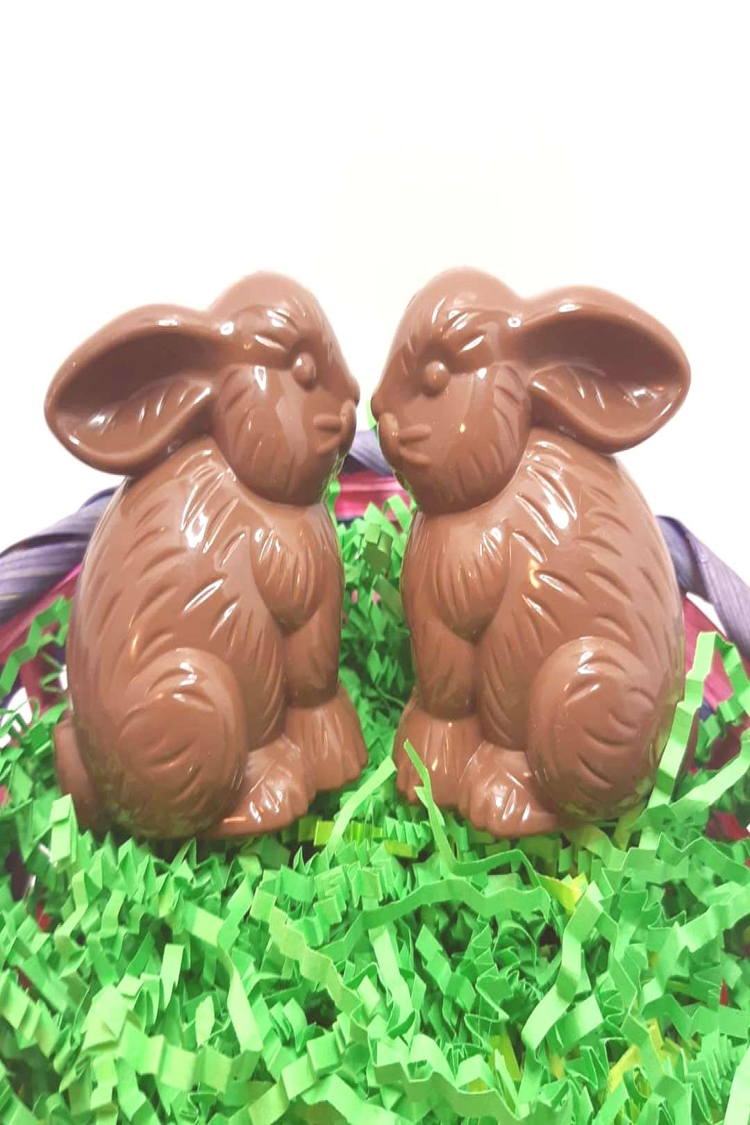 Set of 2 faux chocolate bunny containers 10 sets available These