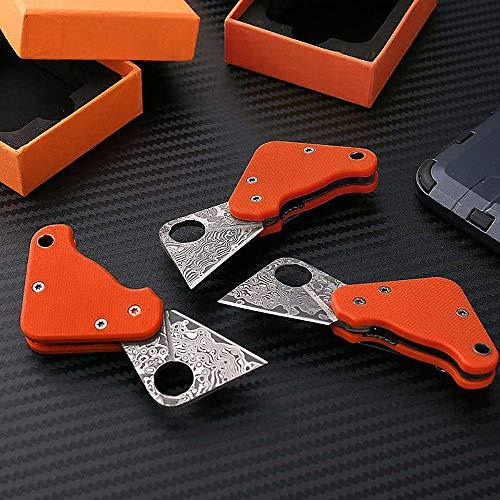 Small Keychain Knife/Folding Damascus Pocket Knives with