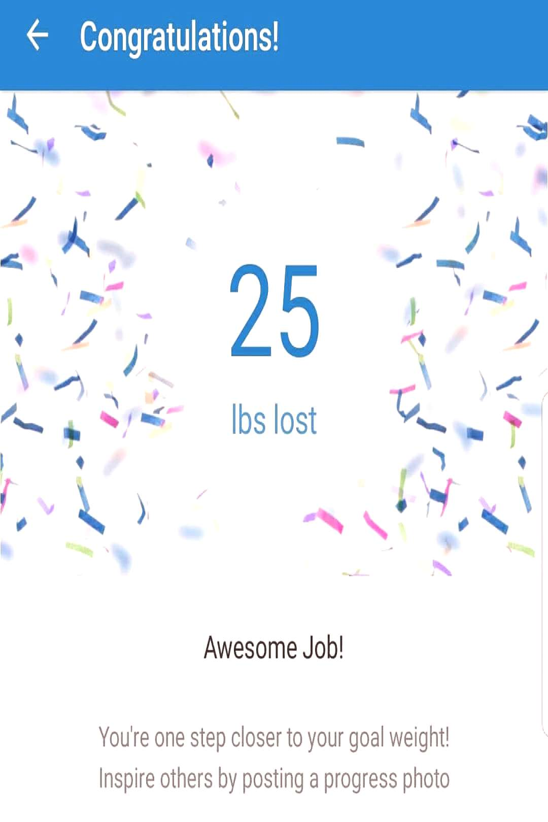 text that says 'Congratulations! 25 lbs lost A