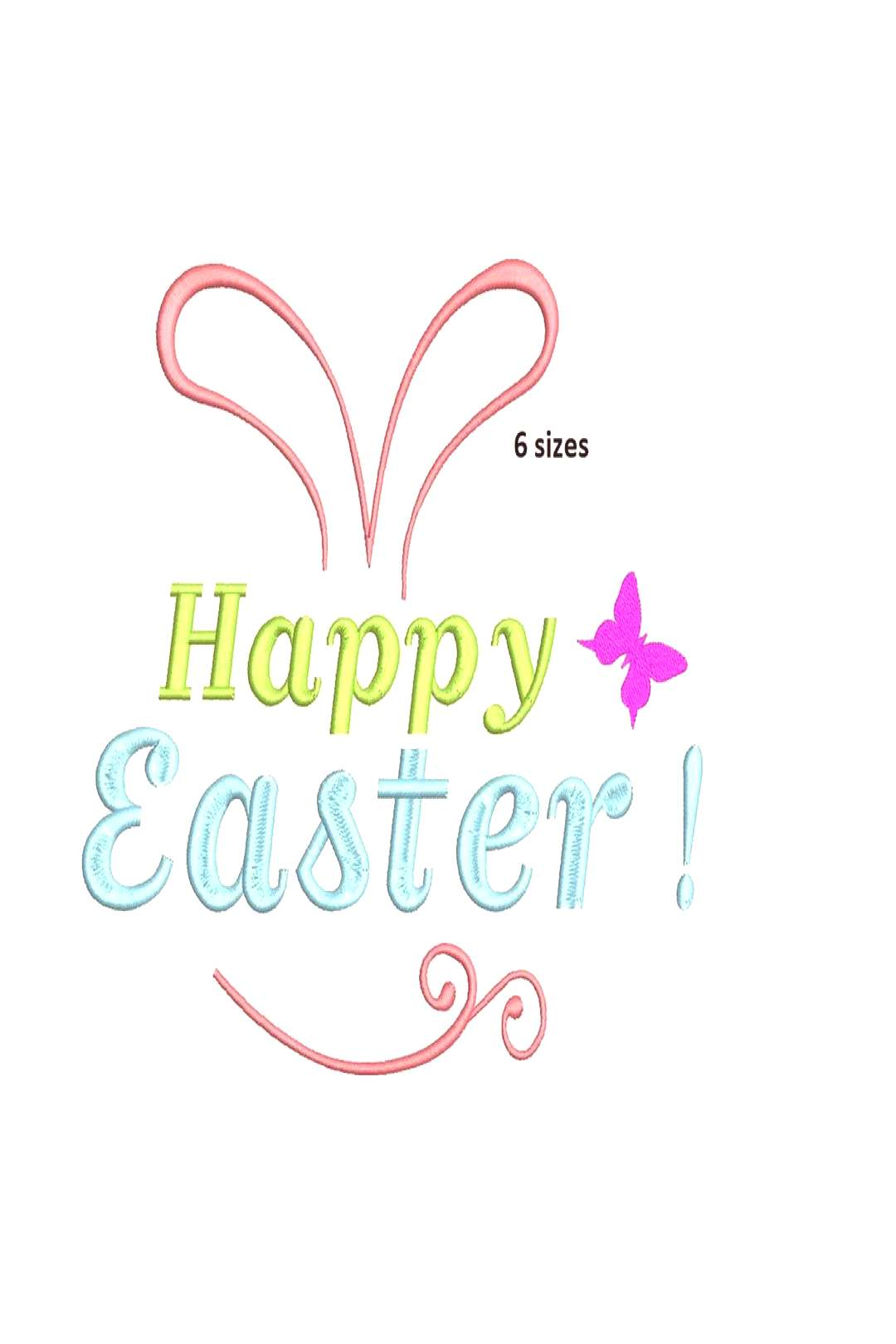 text that says 'sizes Happy Easter!'