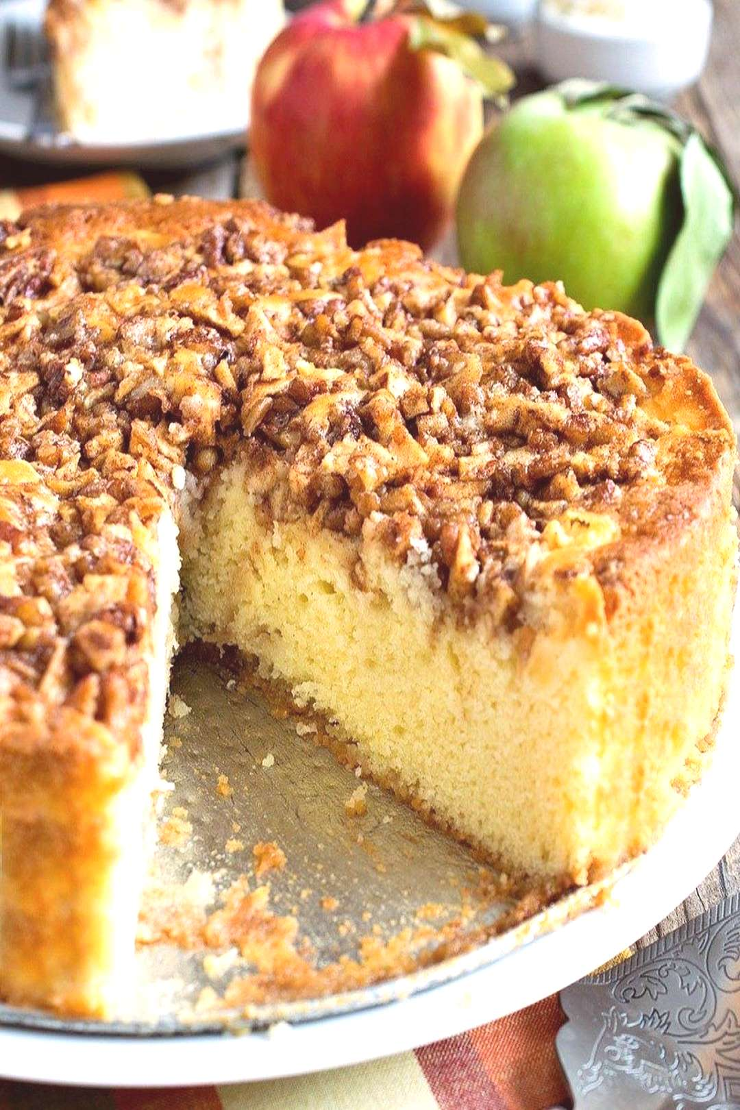 This Cream Cheese Apple Cake is moist and delicious with a sweet