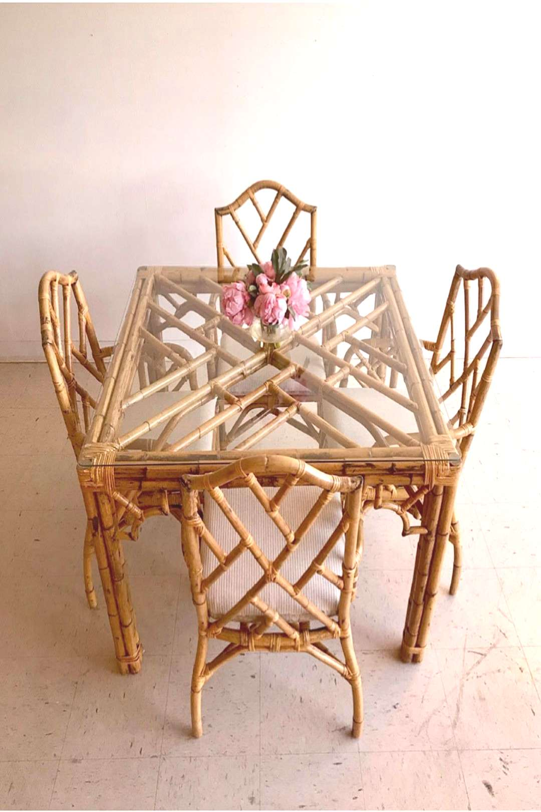 Vintage Mid Century Chippendale Rattan + Glass 5-Piece Dining Set